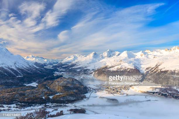 Elevated view of Engadine valley. Canton of Grisons, Switzerland, Europe.