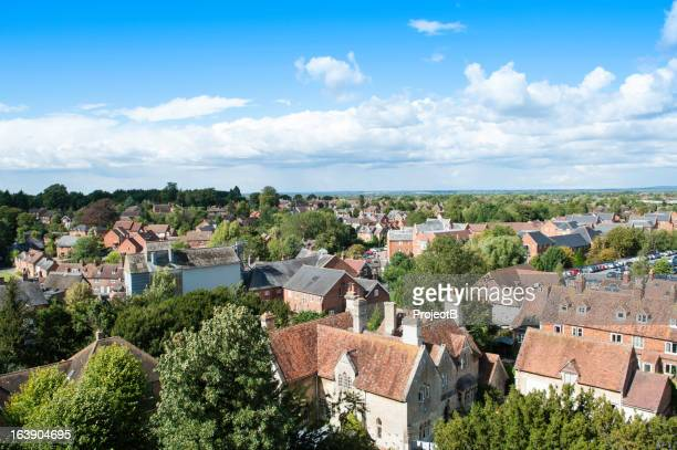 elevated view of english town - town stock pictures, royalty-free photos & images