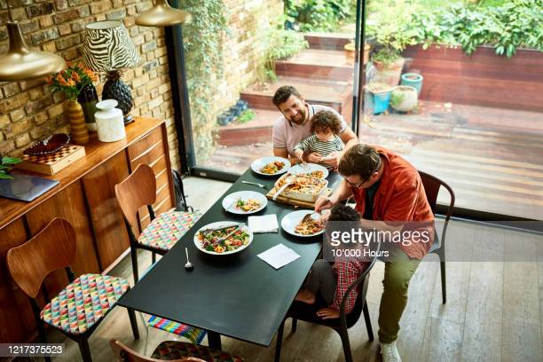 elevated view of family enjoying vegan lunch - vegetarian food stock pictures, royalty-free photos & images