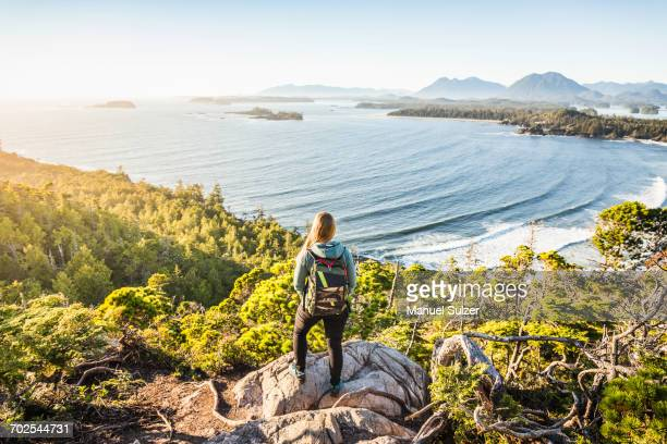 elevated view of female hiker looking out from coastal forest, pacific rim national park, vancouver island, british columbia, canada - vancouver island stockfoto's en -beelden