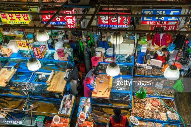 Elevated view of fish stalls Noryangjin Fish Market Seoul South Korea
