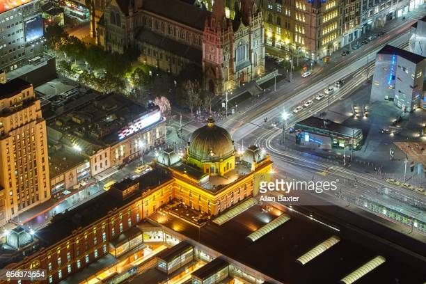 Elevated view of Flinders street station at night