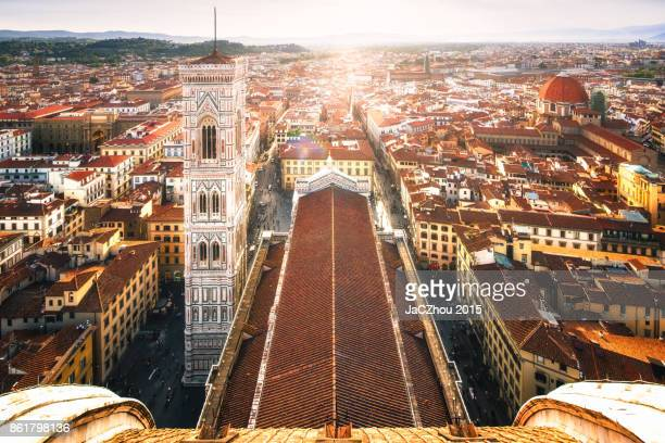 elevated view of florence city from the duomo