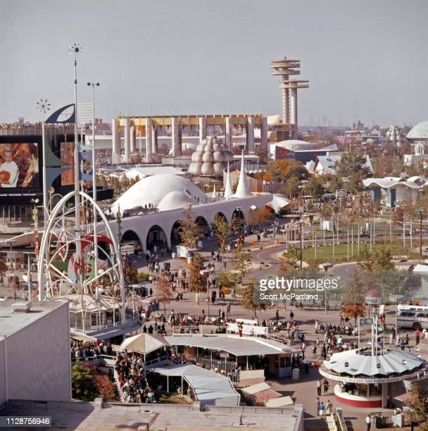 Elevated view of Flushing Meadows Park during the World's Fair in Queens New York New York September 1965 Visible are concession stands the Kodak...