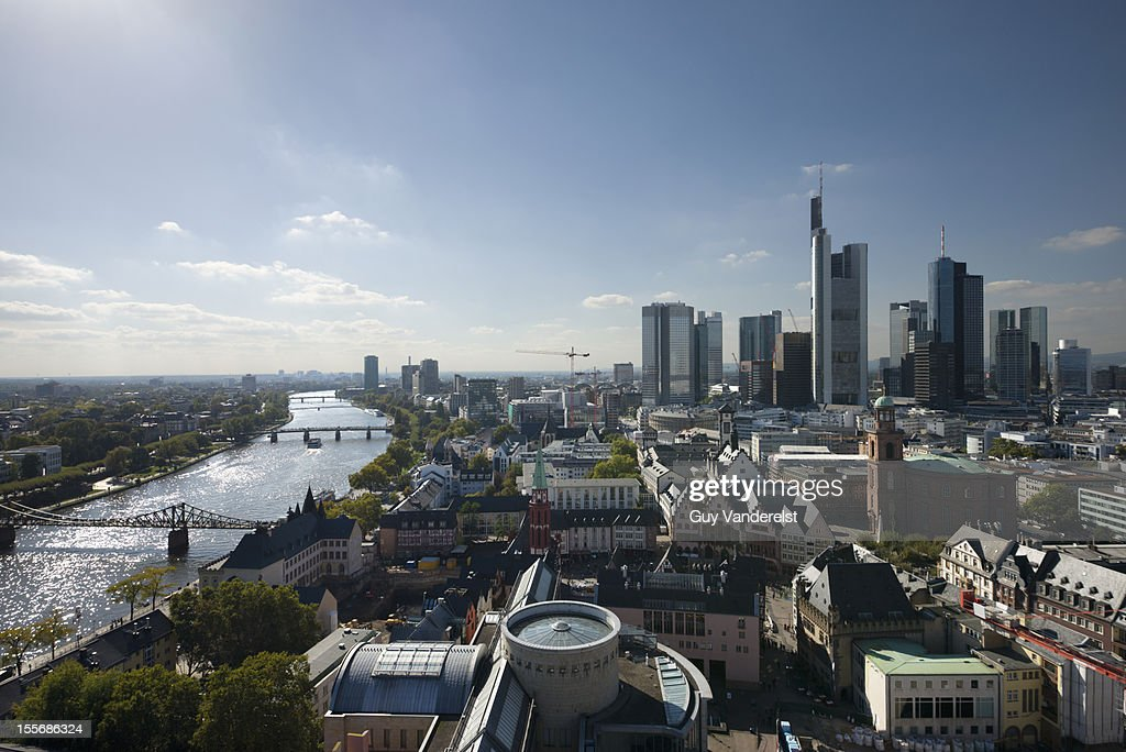 Elevated view of Frankfurt and the river Main : Stock Photo