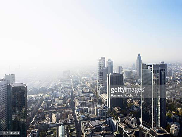 elevated view of frankfurt - frankfurt am main stock-fotos und bilder