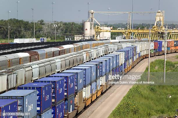 Elevated view of freight cars