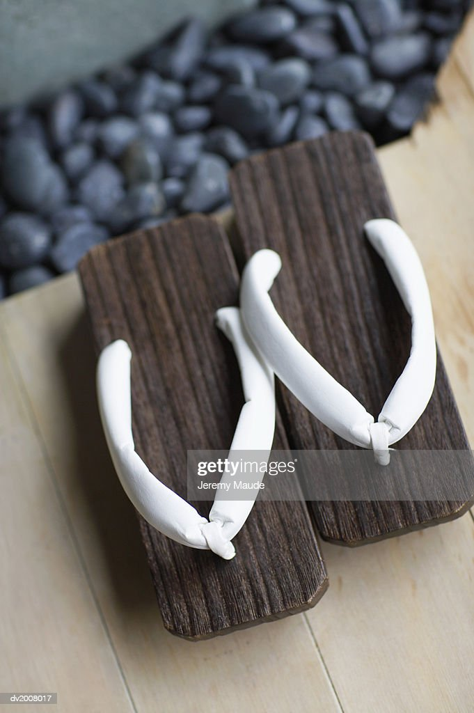 Elevated View of Geta Sandals : Stock Photo