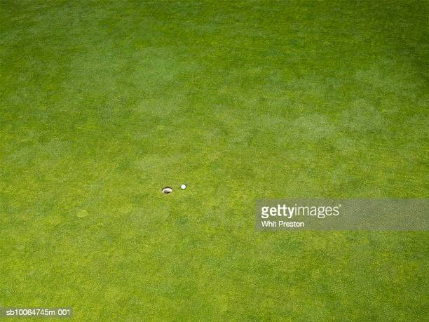 Elevated view of golf course lawn with hole and ball