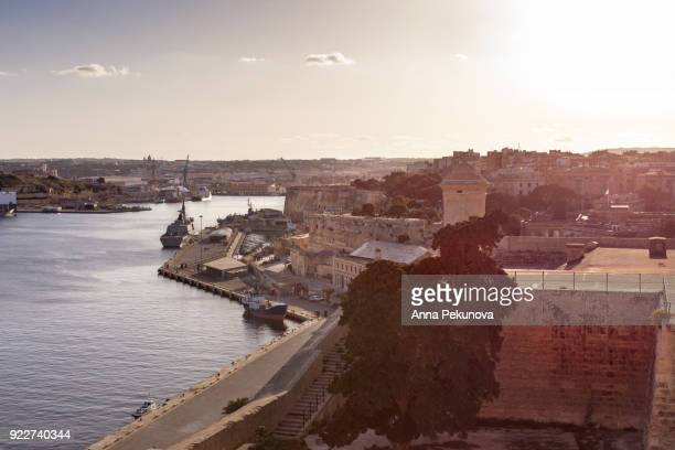 Elevated view of Grand harbor,  Valletta, Malta