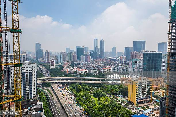 elevated view of guangzhou skyline - guangzhou stock pictures, royalty-free photos & images