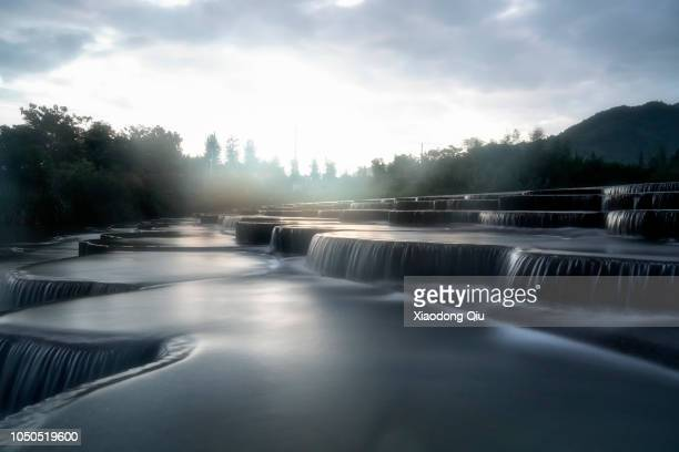 elevated view of hangzhou thousand island lake at dawn - reservoir stock pictures, royalty-free photos & images