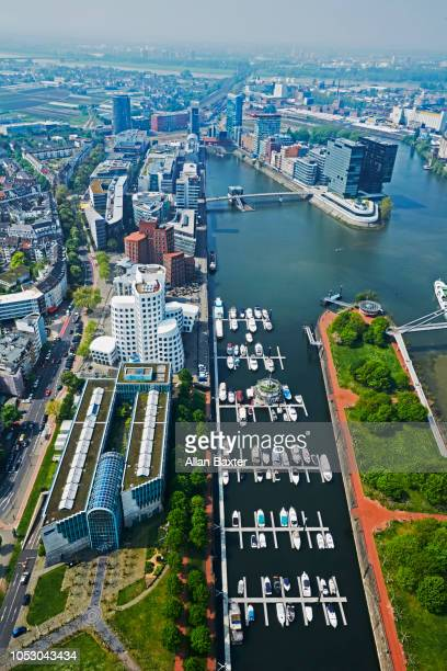 Elevated view of harbour in the Mediahafen district of Dusseldorf
