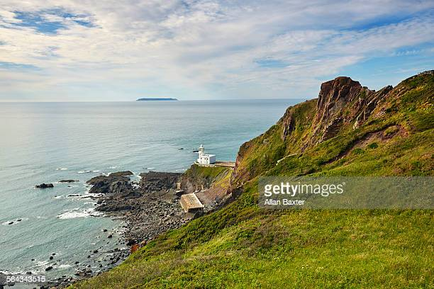 elevated view of hartland point lighthouse - island stock pictures, royalty-free photos & images