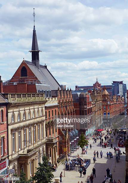 elevated view of high street - leeds stock pictures, royalty-free photos & images