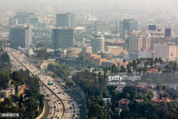 elevated view of hollywood, los angeles - hollywood california stock pictures, royalty-free photos & images