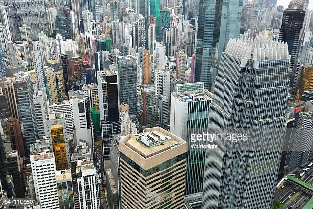 Elevated view of Hong Kong cityscape at Central District.