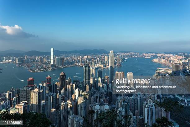 elevated view of hongkong skyline - hong kong stock pictures, royalty-free photos & images