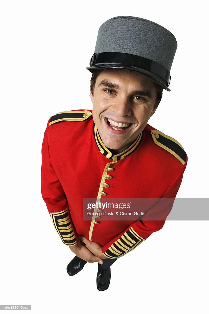 Elevated view of hotel doorman : Stock Photo