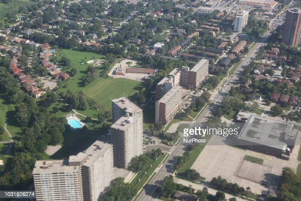 Elevated view of houses and apartment buildings in Mississauga, Ontario, Canada.