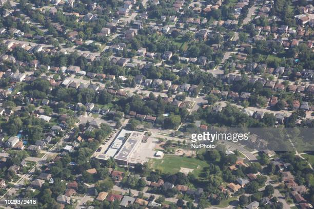 Elevated view of houses in Mississauga, Ontario, Canada.