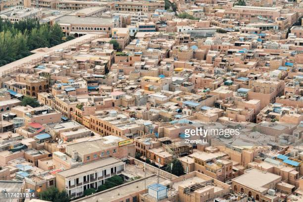 elevated view of kashgar old town in xinjiang / kashgar, xinjiang - kashgar - fotografias e filmes do acervo