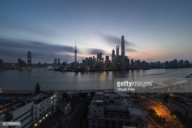 Elevated View of Landmarks of Shanghai at dawn