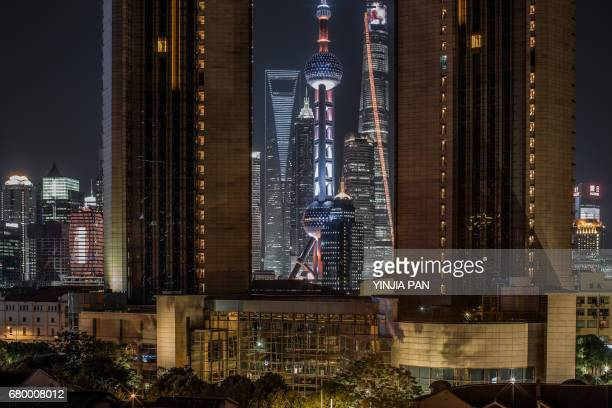 Elevated View of Landmarks of Shanghai at Night