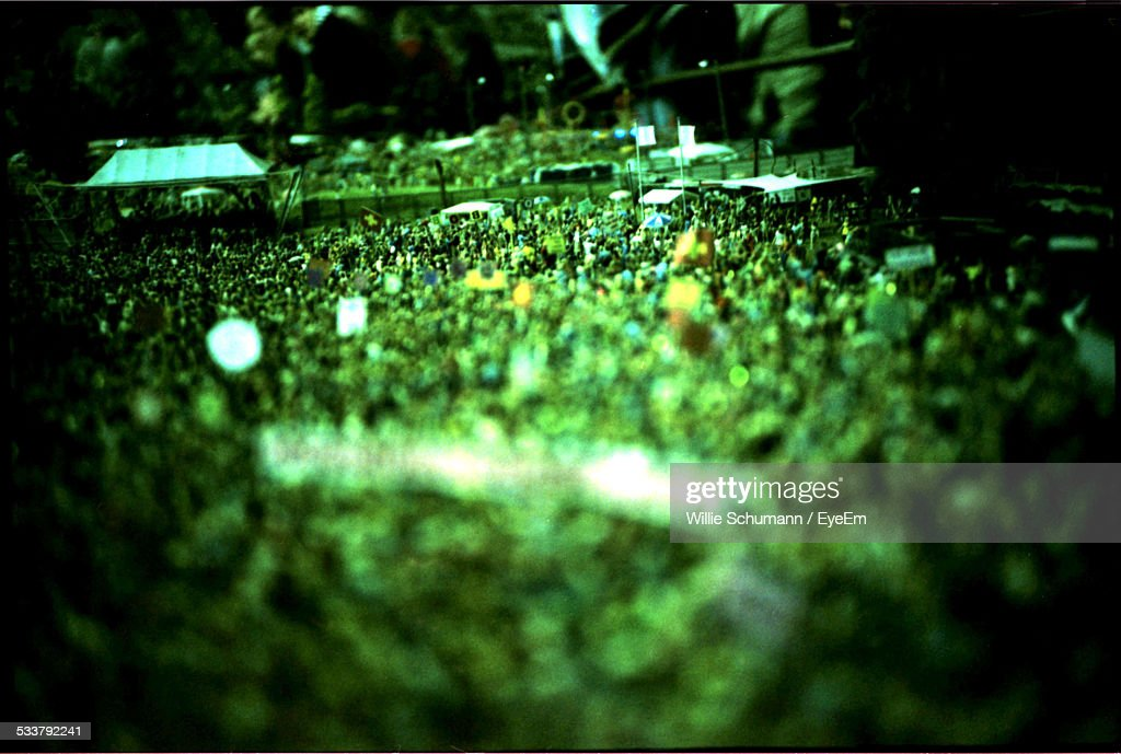 Elevated View Of Large Crowd Outdoors : Foto stock