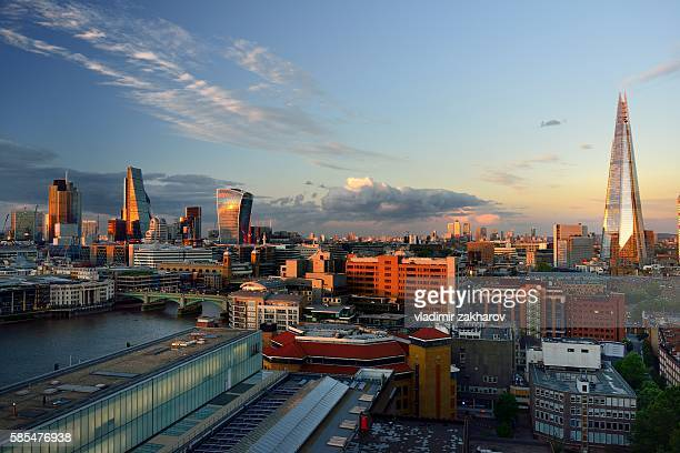 Elevated  view of London at sunset