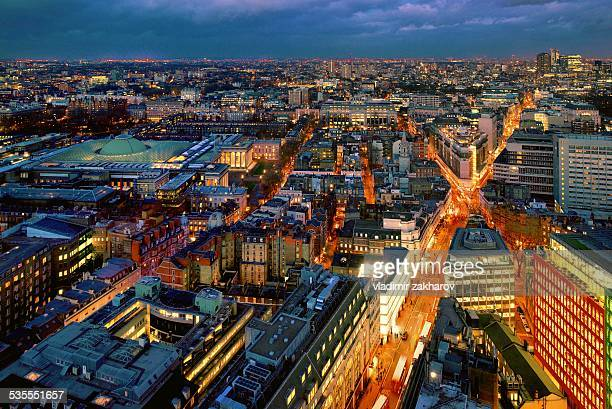 elevated view of london at twilight - holborn stock pictures, royalty-free photos & images