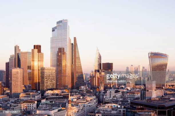 elevated view of london city skyscrapers and the financial district - skyline stock pictures, royalty-free photos & images