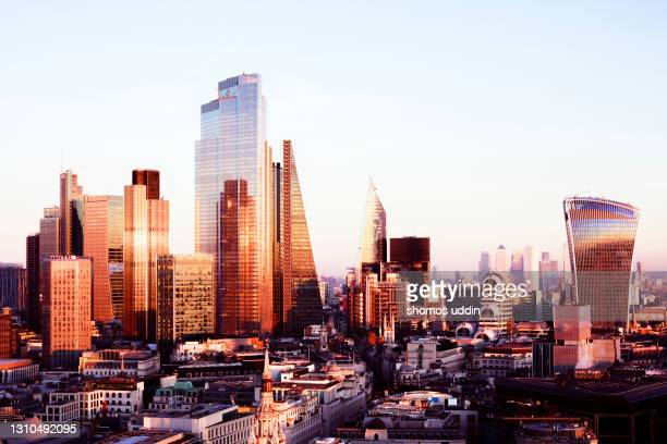 elevated view of london skyline at sunset - city of london stock pictures, royalty-free photos & images