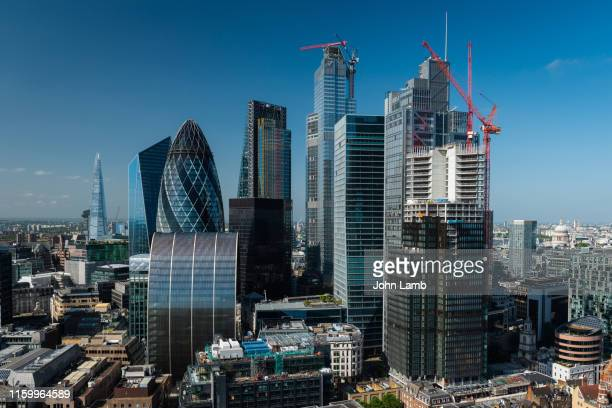 elevated view of london's financial district. - london england stock pictures, royalty-free photos & images
