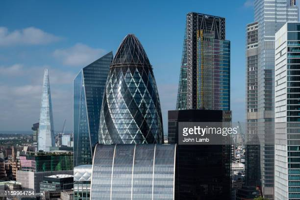 elevated view of london's financial district. - day stock pictures, royalty-free photos & images