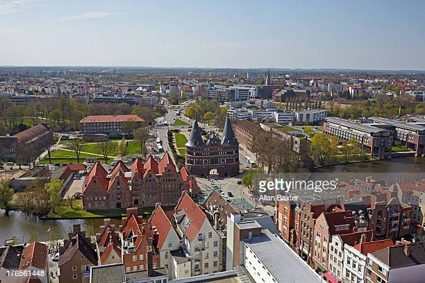 Elevated view of Lubeck with Holsten city gate
