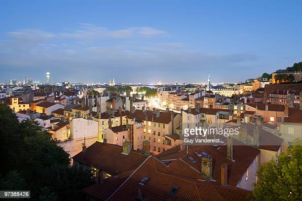 Elevated view of Lyon with old houses at dusk