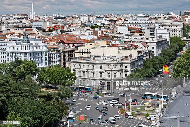 Elevated view of Madrid skyline