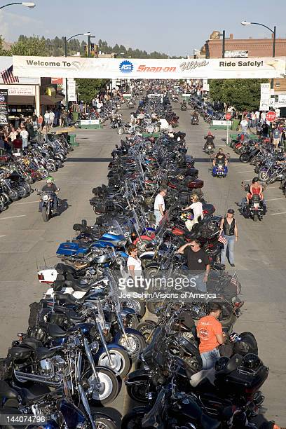 Elevated view of Main Street with motorcycles lining road at the 67th Annual Sturgis Motorcycle Rally Sturgis South Dakota August 612 2007