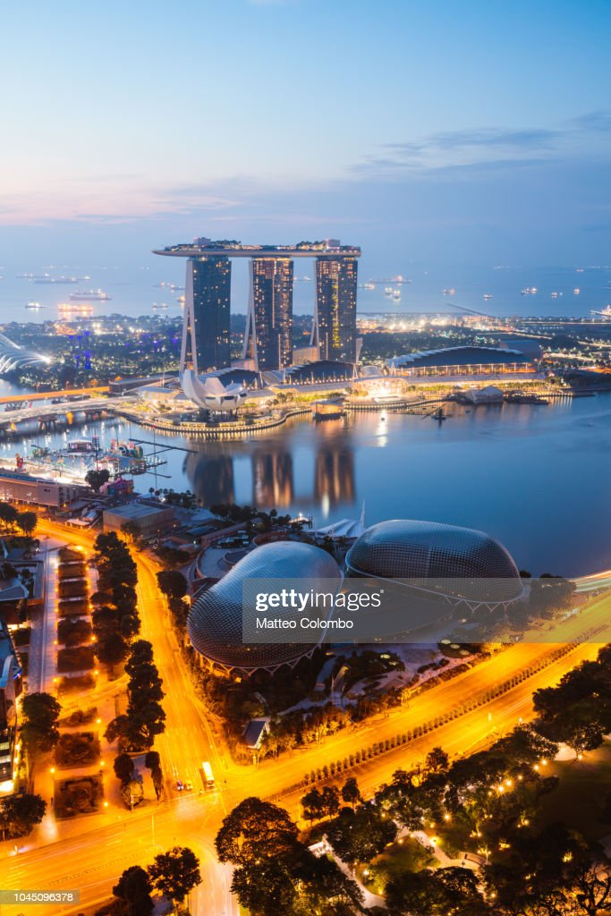 Elevated view of Marina Bay Sands, Singapore : Stock Photo