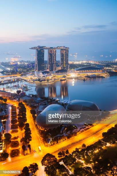 elevated view of marina bay sands, singapore - marina bay sands stock photos and pictures