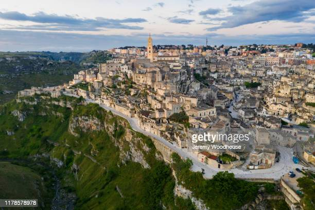 elevated view of matera at dawn - jeremy woodhouse stock pictures, royalty-free photos & images