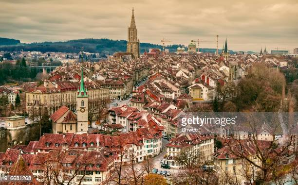 elevated view of medieval city bern switzerland - ベルンカントン ストックフォトと画像
