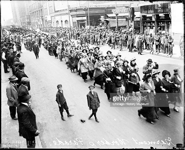 Elevated view of members of the Amalgamated Clothing Workers of America in a Labor Day parade Chicago Illinois May 1915 10000 garment workers marched...