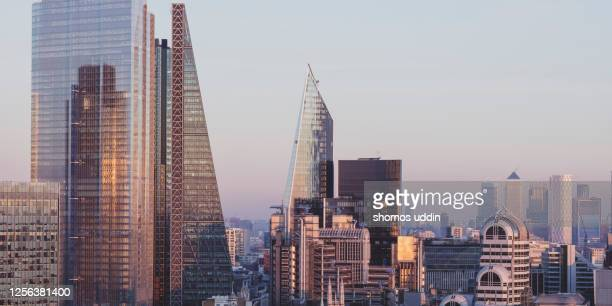 elevated view of modern skyscrapers in london city - central london stock pictures, royalty-free photos & images