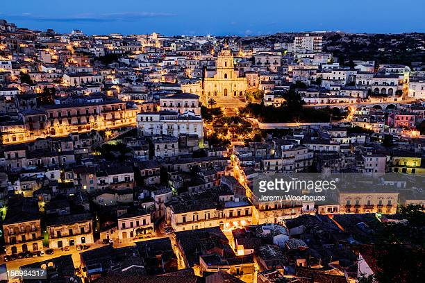 Elevated view of Modica and San Giorgio Cathedral