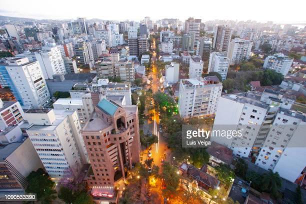 elevated view of moinhos de vento neighborhood, porto alegre, rs - pôrto alegre stockfoto's en -beelden
