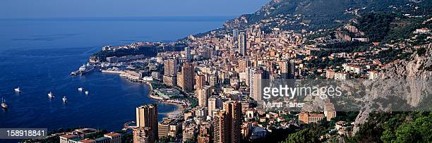 elevated view of monte carlo, monaco - monte carlo stock pictures, royalty-free photos & images