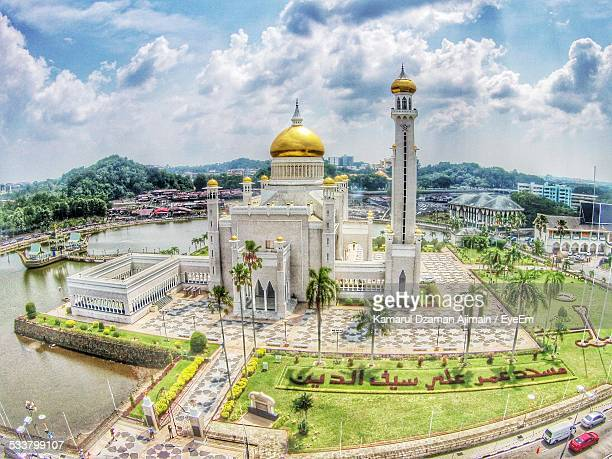 elevated view of mosque - bandar seri begawan stock photos and pictures