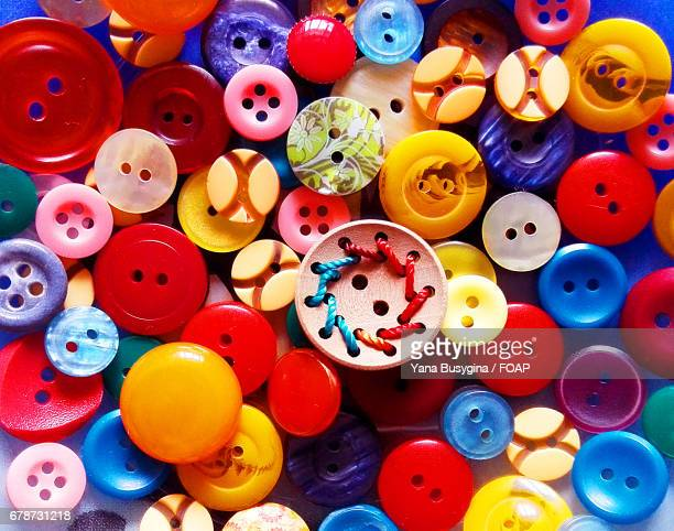 Elevated view of multi colored buttons